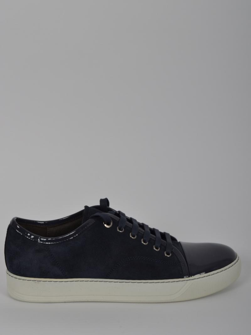 LANVIN Low-top sneaker in patent nappa and velour calfskin