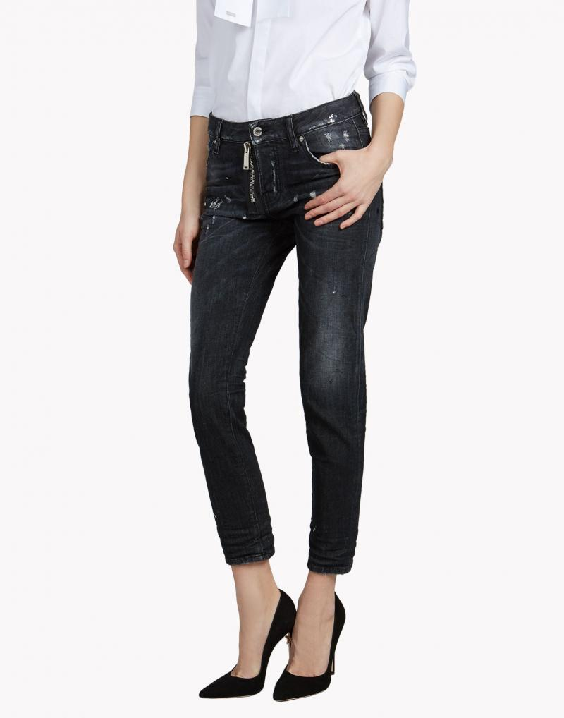 washed jean zip strech girl jeans cool dsquared2 denim