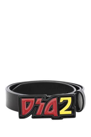 DSQUARED2 glazed buckle belt