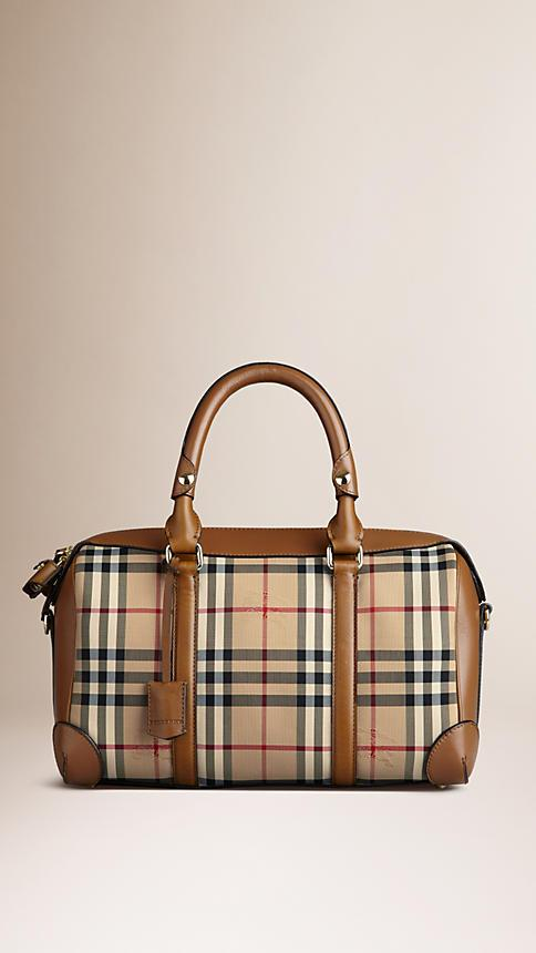 BURBERRY Medium Alchester Horseferry Check Leather Bowling Bag 4577136eb0423