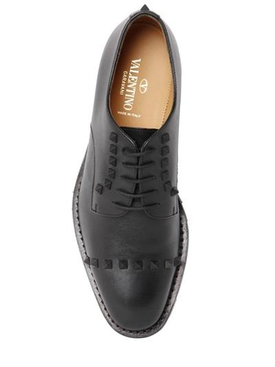 VALENTINO STUDDED LEATHER DERBY LACE-UP SHOES