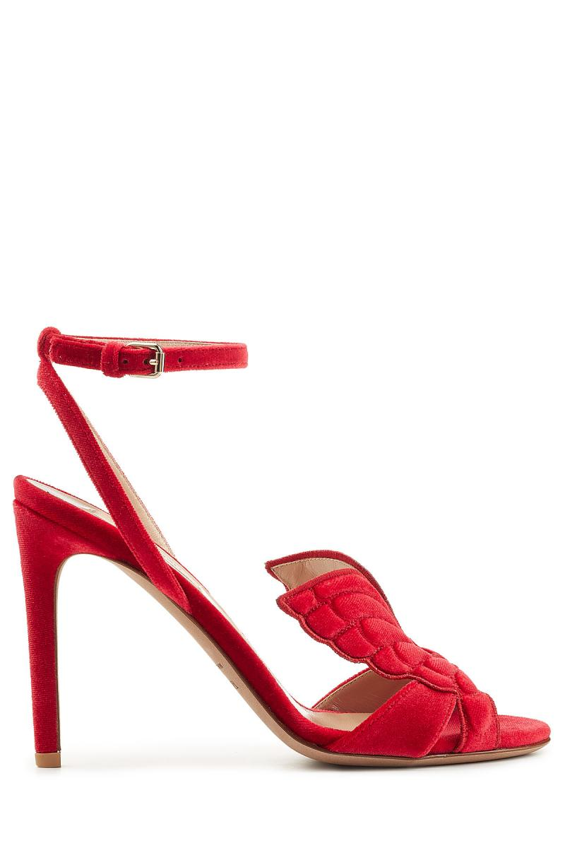 VALENTINO wing on toe velvet sandals