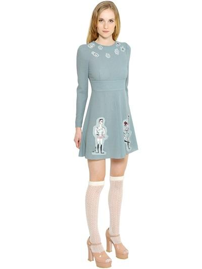 RED VALENTINO WOOL CREPE DRESS WITH CIRCUS PATCHES