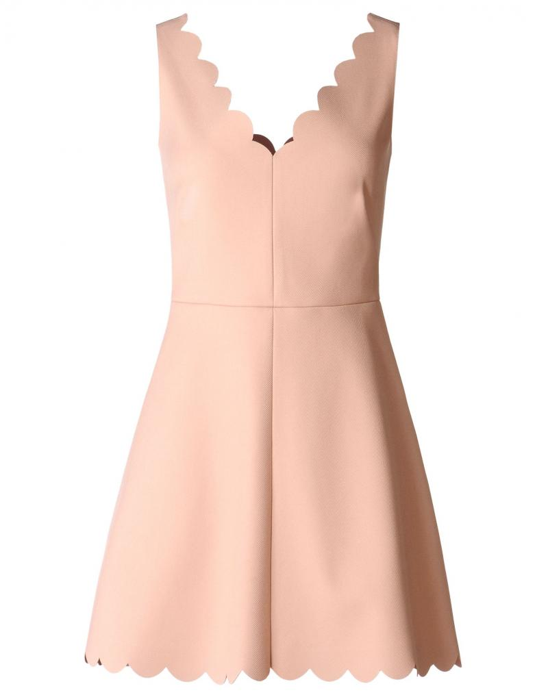 RED VALENTINO  Scallop detail tricotine tech dress