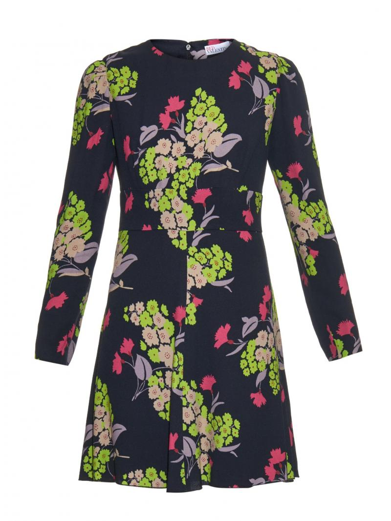 RED VALENTINO Flower-print crepe dress