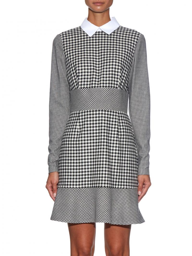 RED VALENTINO  Contrast-collar hound's-tooth dress