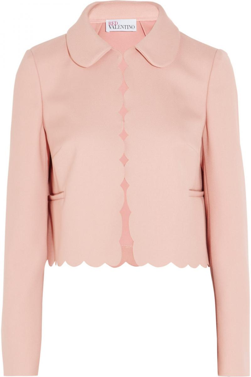 RED VALENTINO Cropped scalloped stretch-twill jacket