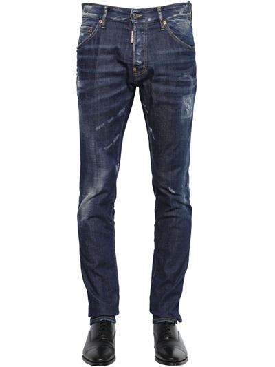 DSQUARED2 JEANS 16.5CM COOL GUY JEAN REAL WASH STRECH DENIM