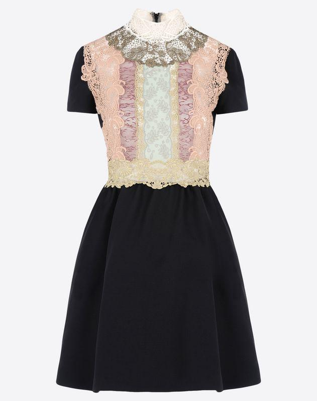 VALENTINO Dress with fusion lace bib-front