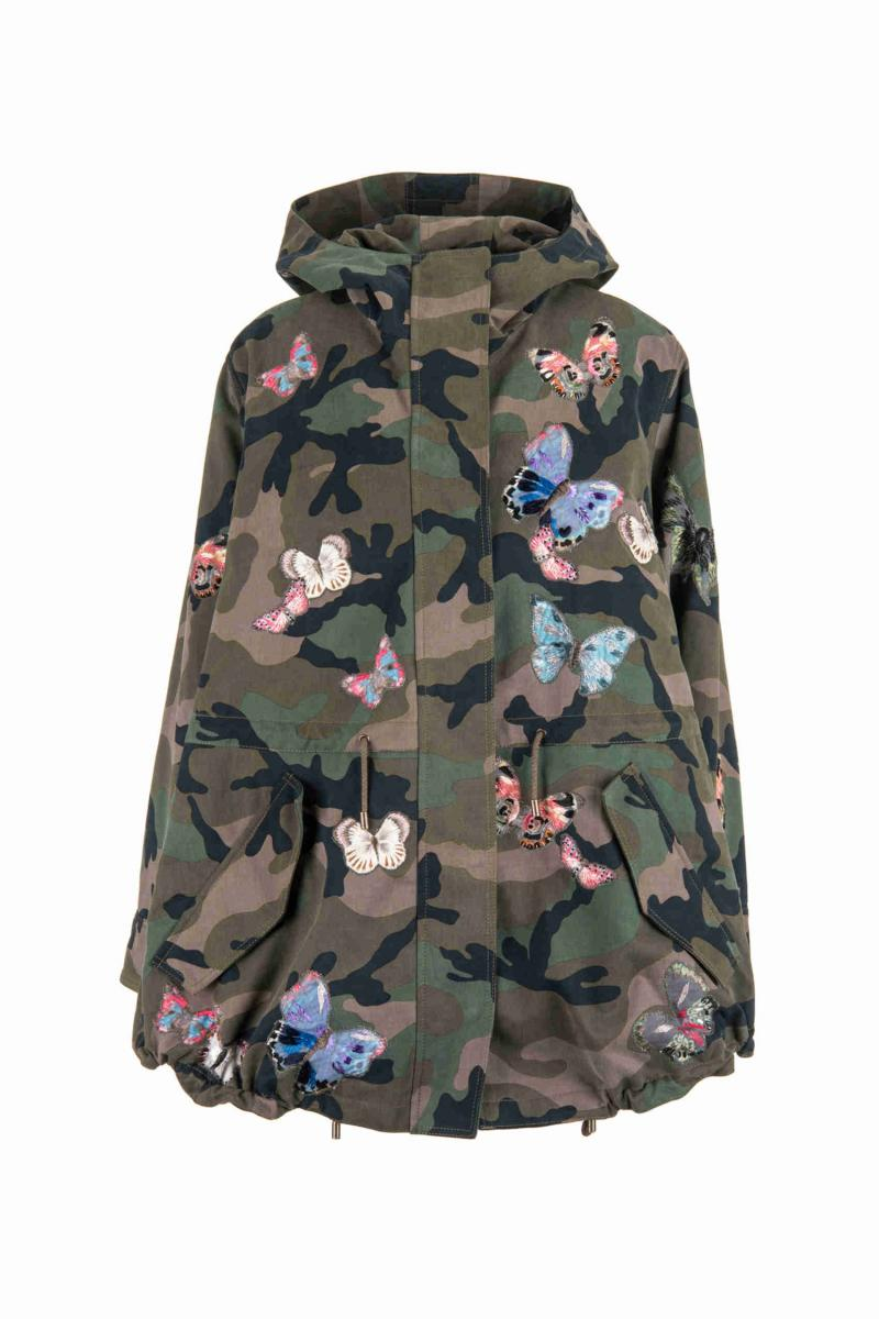 VALENTINO Camouflage parka + embroidered butterflies