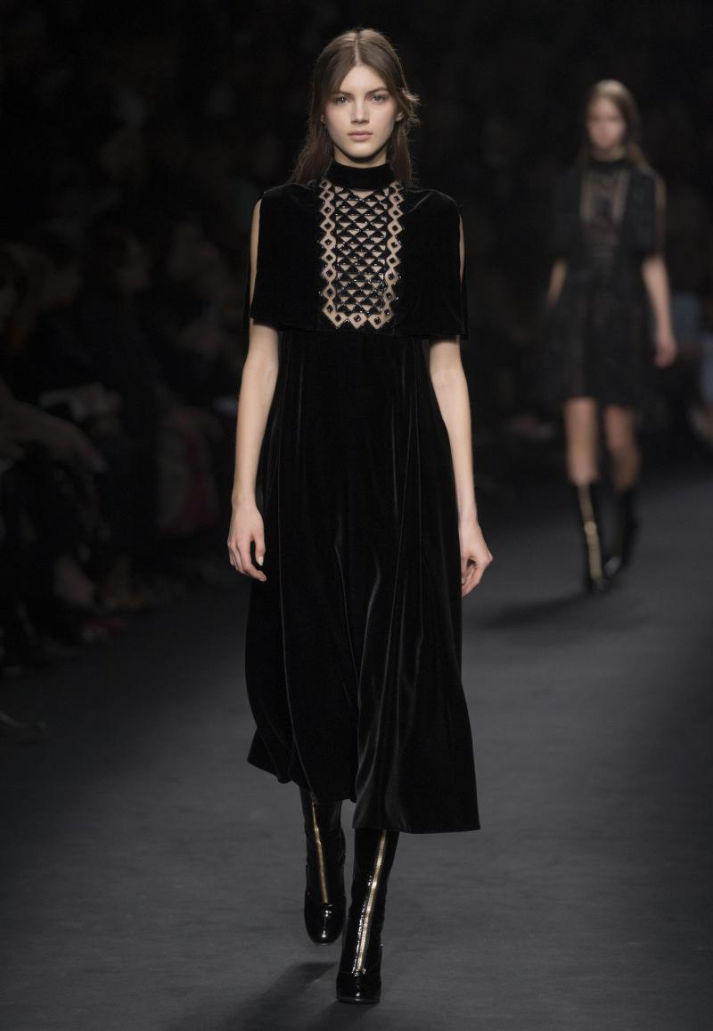 VALENTINO Beaded tulle and velvet dress