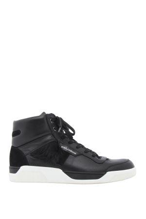 DOLCE&GABBANA high top sneakers with fur tuft