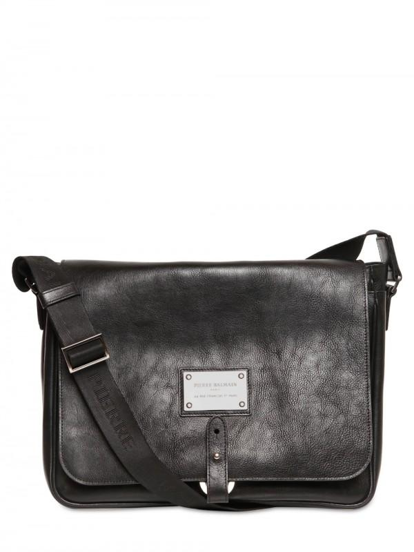 PIERRE BALMAIN LEATHER MESSENGER BAG