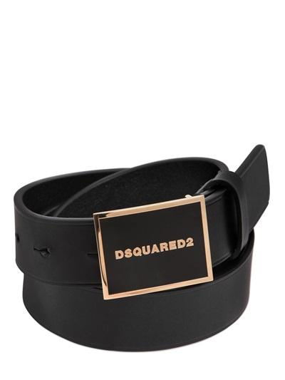 DSQUARED2 BELT 30MM   ogo plaque leather belt