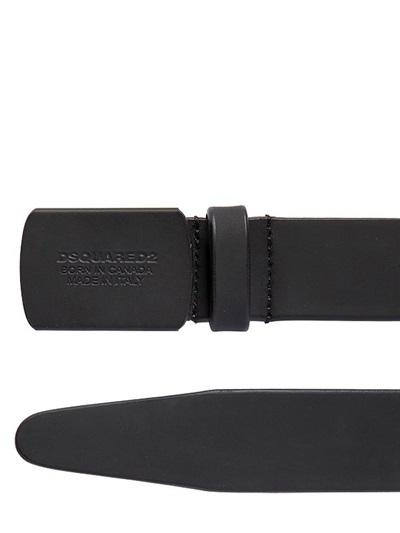 DSQUARED2 BELT 30MM LOGO RUBBERIZED LEATHER BELT