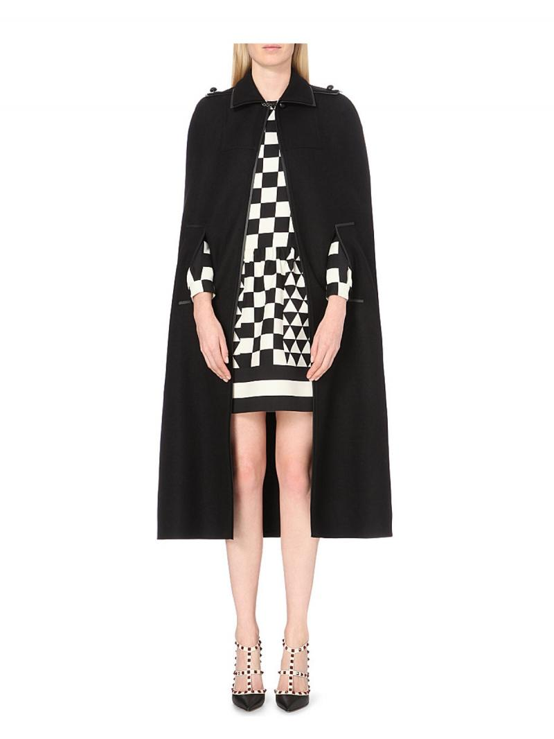 VALENTINO Wool and angora-blend cape
