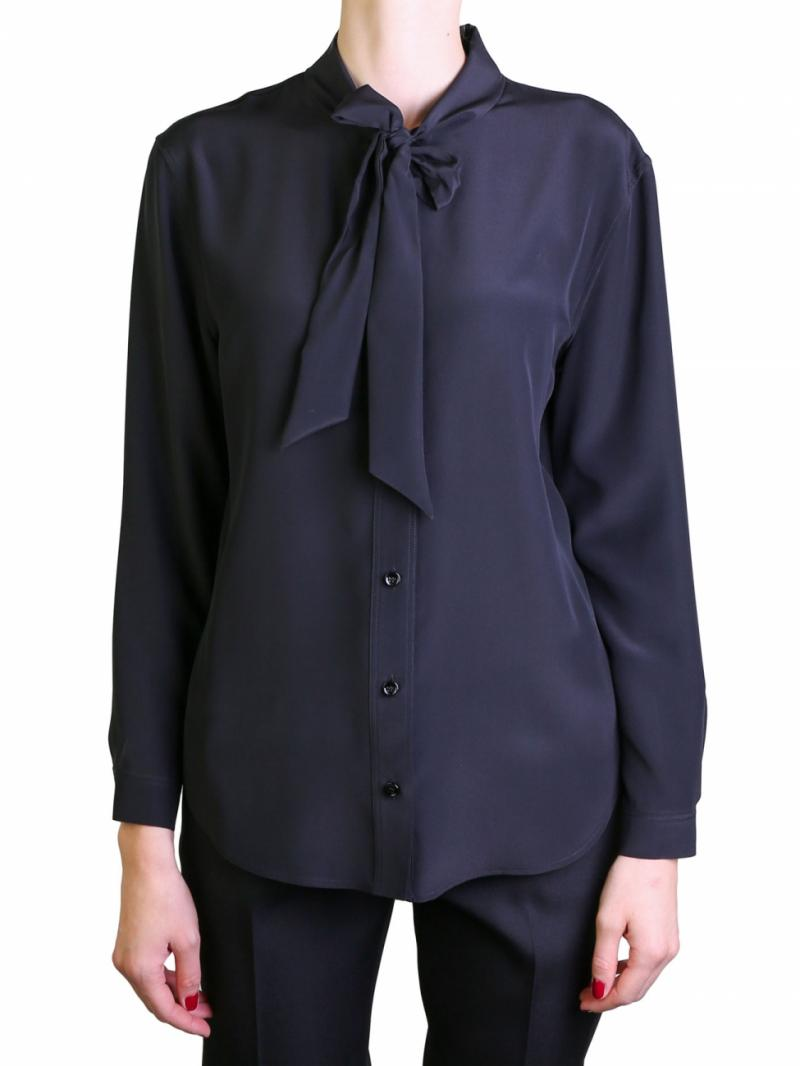 Saint Laurent black ribbon blouse