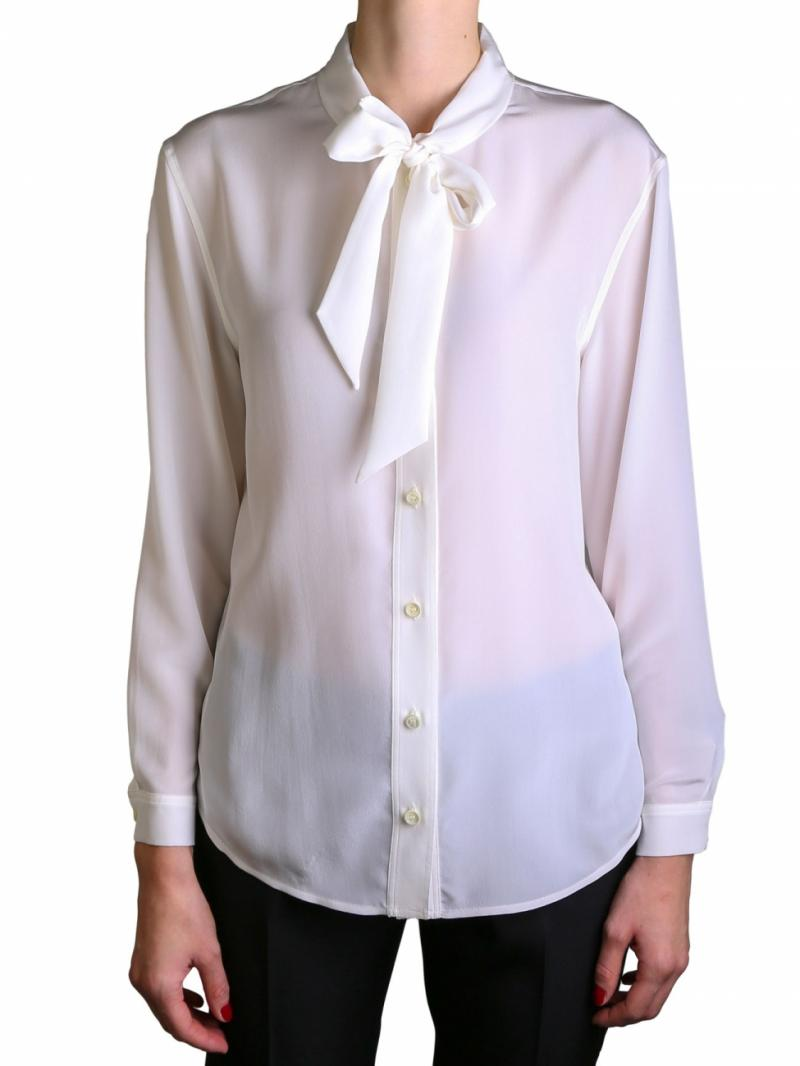 Saint Laurent ivory ribbon blouse
