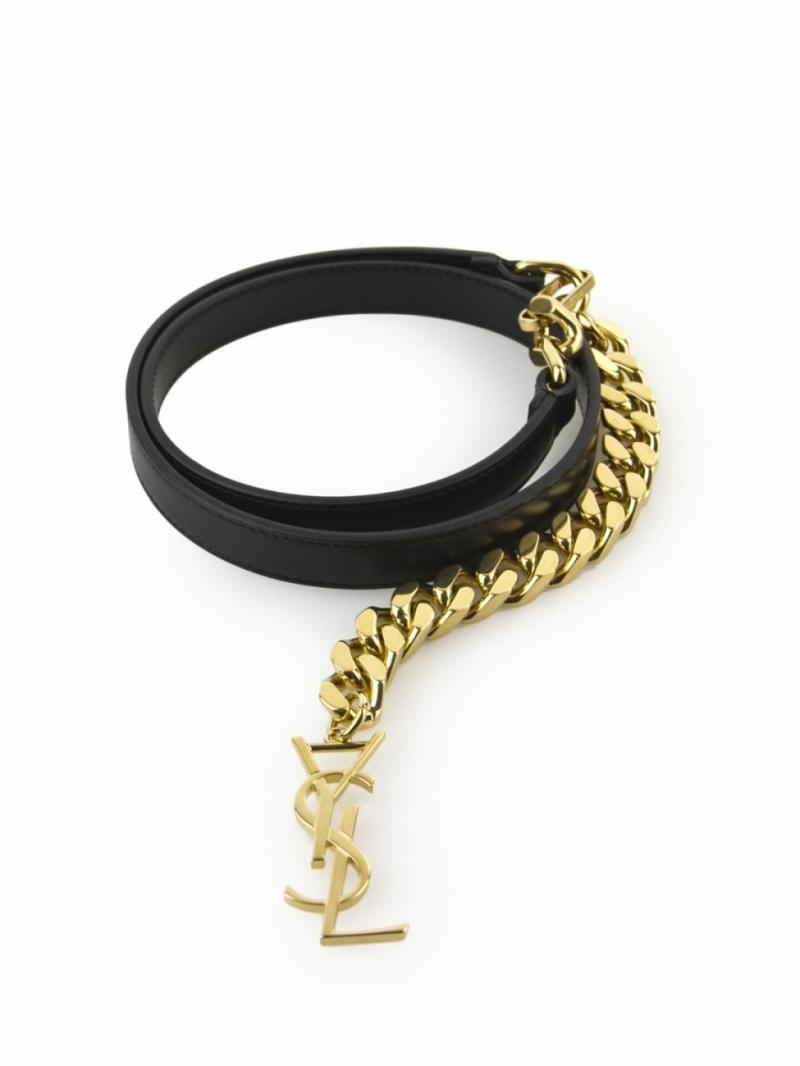 Saint Laurent black leather and gold monogramme belt with chain