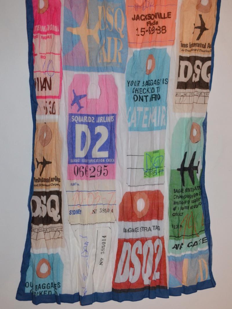 DSQUARED2 flight tag print scarf