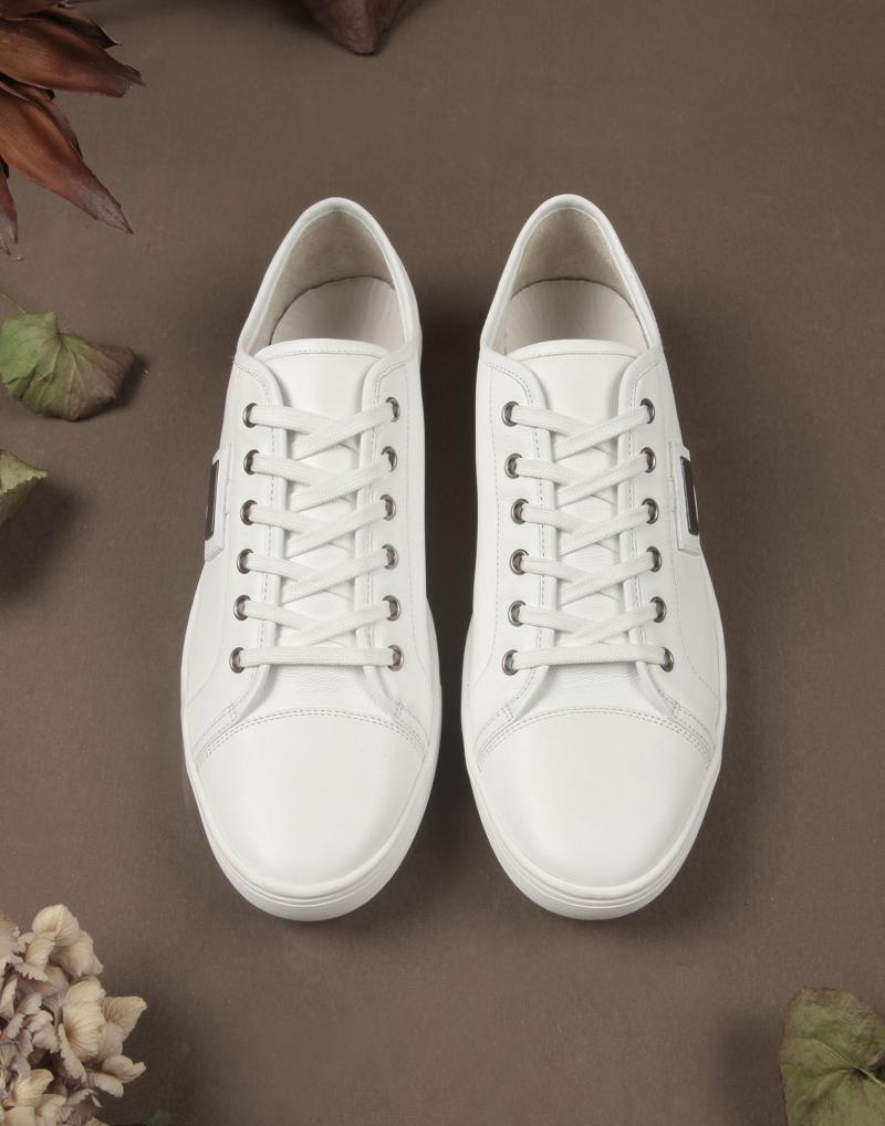 DOLCE&GABBANA CALFSKIN AND SPLIT LEATHER SNEAKERS
