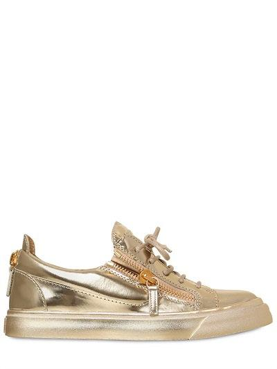 GIUSEPPE ZANOTTI DESIGN   20MM METALLIC LEATHER SNEAKERS