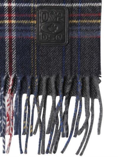 DSQUARED2 SCARVES  fringed plaid wool scarf