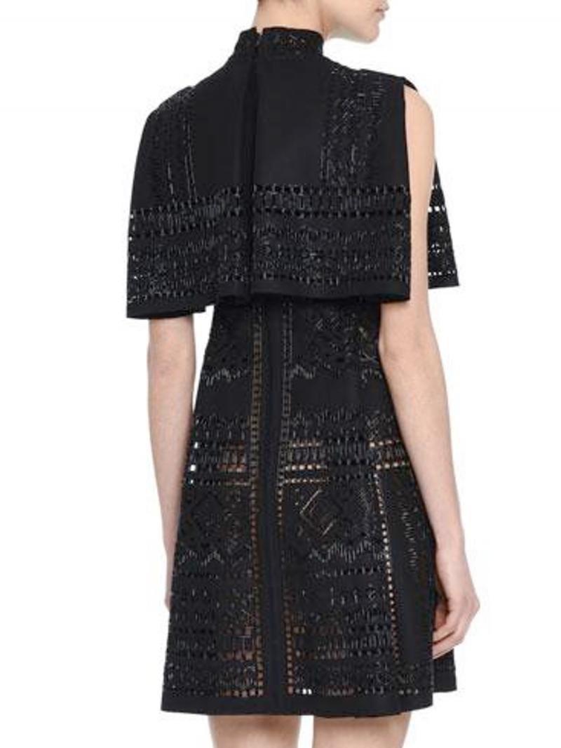 VALENTINO Beaded Punchwork Layered Dress