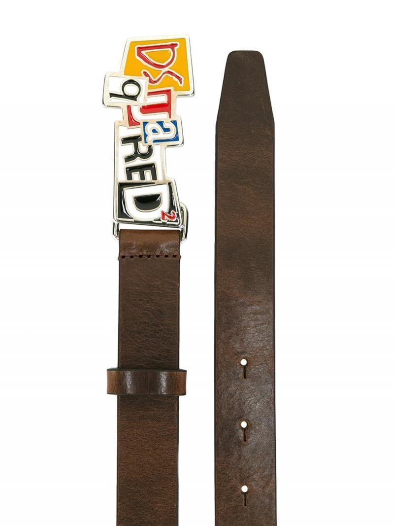 DSQUARED2 BELT newspaper collage buckle belt