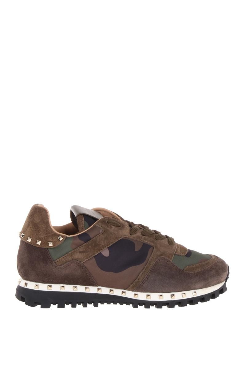 VALENTINO GARAVANI  Rockstud camouflage sneakers in nylon and suede
