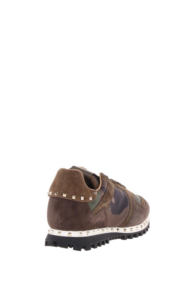 VALENTINO GARAVANI  Rockstud camouflage sneakers in nylon and suede
