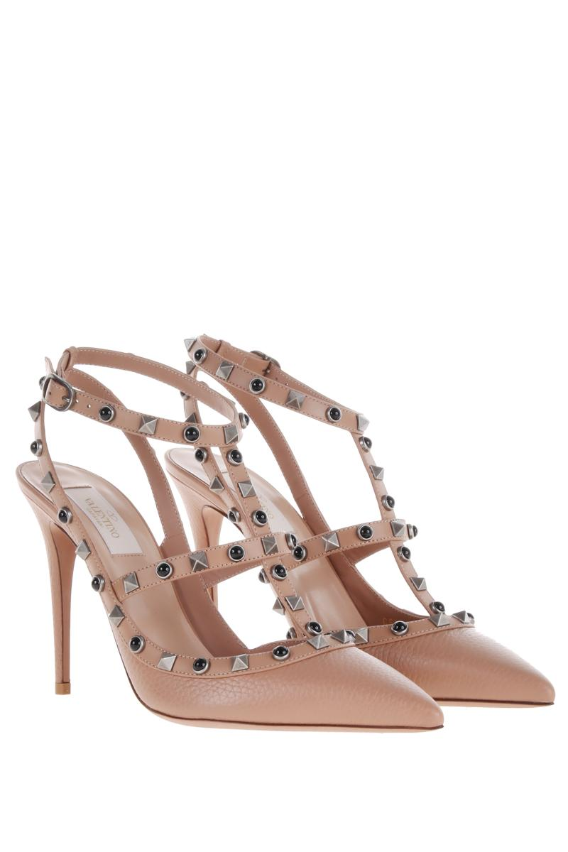 VALENTINO GARAVANI Rockstud Rolling slingbacks in moose effect leather