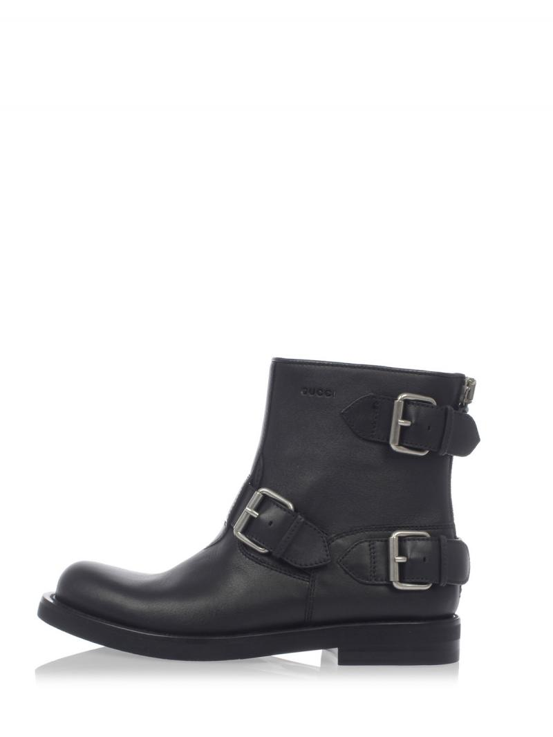 GUCCI Hammered Leather MIRO'SOFT Ankle Boots
