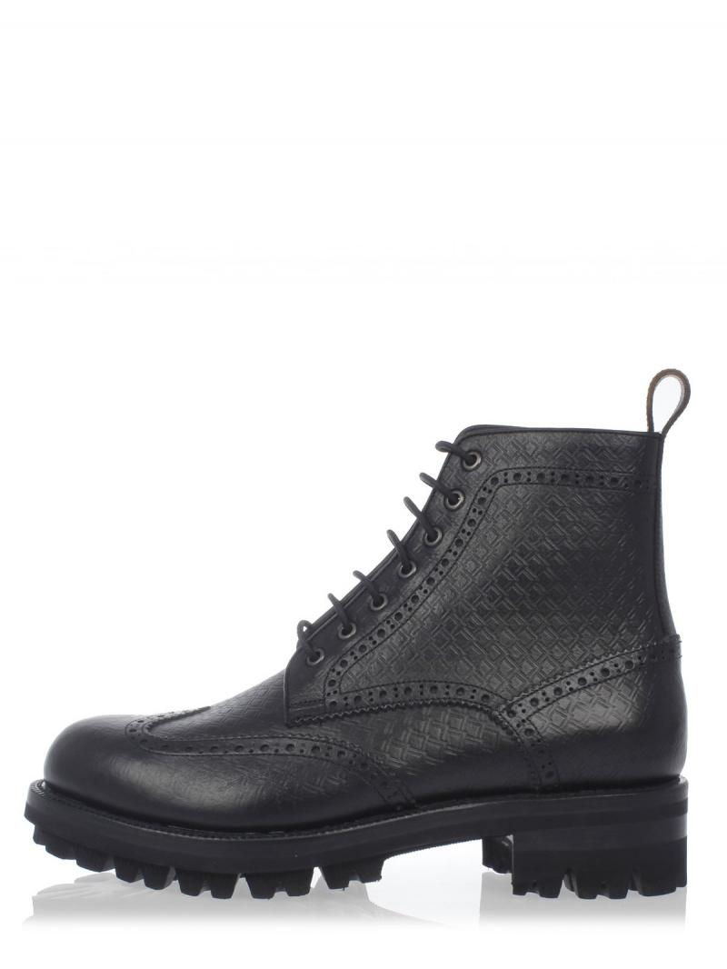 DSQUARED2 TURKISH BIKER Embossed leather Laced Up Ankle