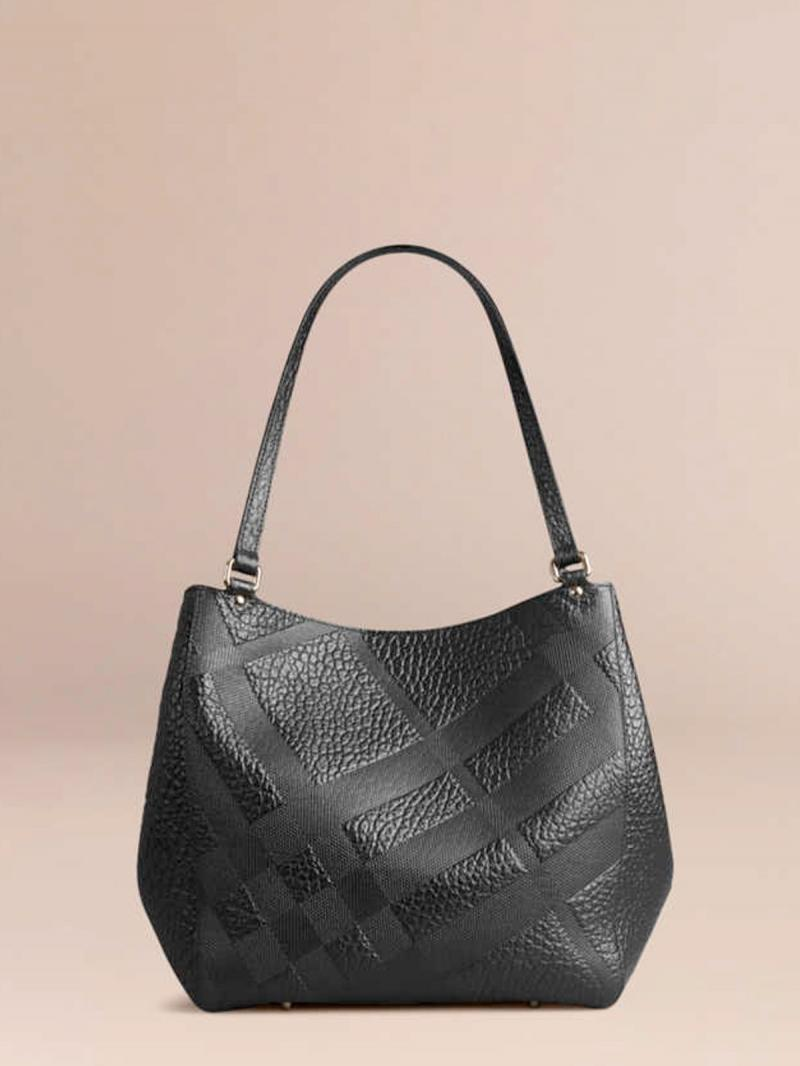 BURBERRY THE SMALL CANTER IN EMBOSSED CHECK LEATHER