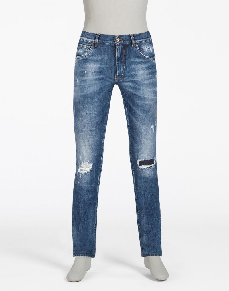DOLCE&GABBANA STRETCH DENIM SLIM FIT JEANS WITH EMBROIDERY