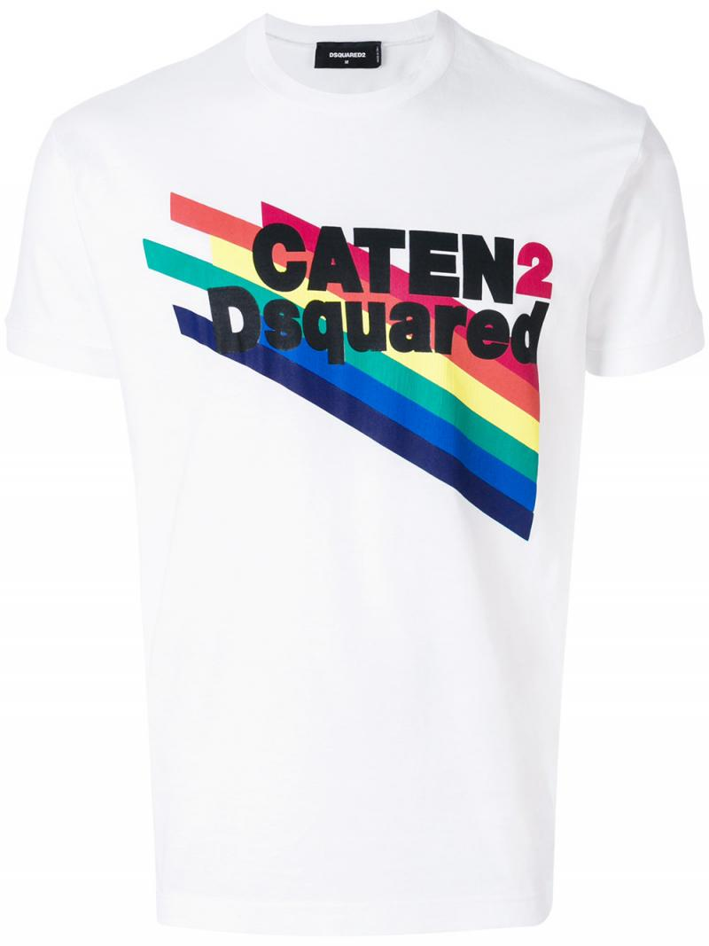 DSQUARED2 rainbow and slogan