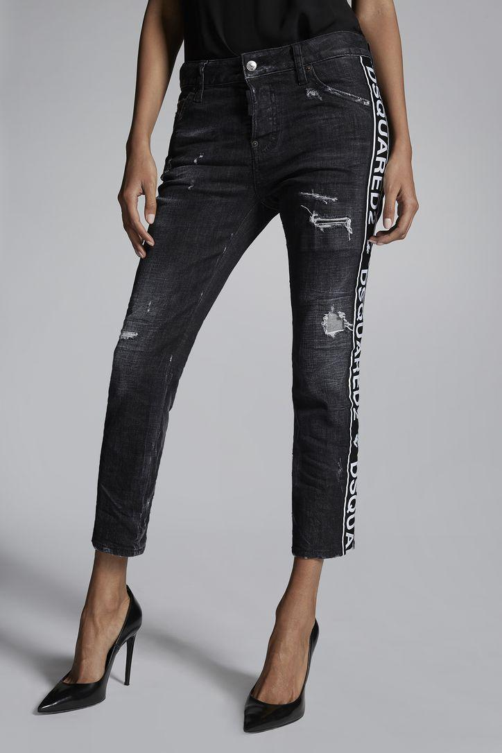DSQUARED2 JENNIFER JEAN distressed logo-stripe jeans