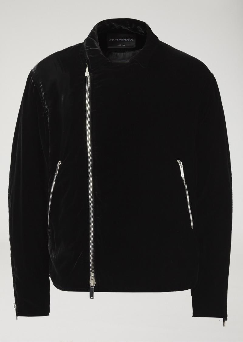 EMPORIO ARMANI Padded blouson in solid colour velvet with back zip