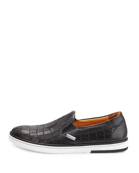 JYMMY CHOO GROVE Black Croc Embossed Leather Slip On Trainers