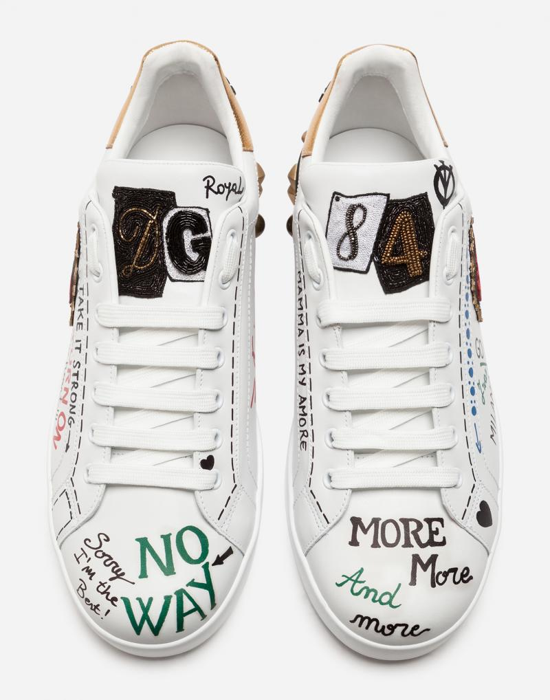 DOLCE&GABBANA  PRINTED CALFSKIN NAPPA PORTOFINO SNEAKERS WITH PATCH AND EMBROIDERY