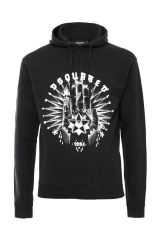 DSQUARED2 HOODED PRINTED COTTON SWEATSHIRT