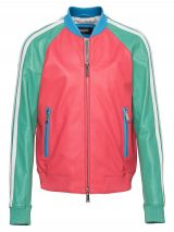 DSQUARED2 Leather College Multi Colour blocking leather blouson